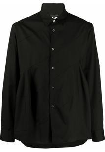 Comme Des Garçons Homme Plus Camisa Com Acabamento Engomado - Preto