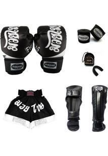 Kit Muay Thai Top Luva Bandagem Bucal Caneleira Shorts 14 Oz Tailandês - Masculino