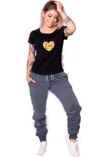 Camiseta Longline Kruger'S Concept Love Preto
