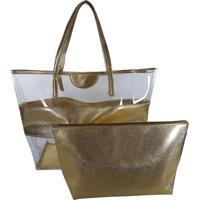 ff8f1554d Bolsa Bag Dreams De Praia Com Necessaire Impermeável Dourada