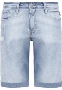 Bermuda Masculina Jeans Média Lavagem - Azul