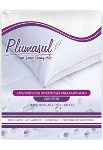 Capa De Travesseiro Impermeável Percal 180 Fios 50X90Cm Branco Plumasul