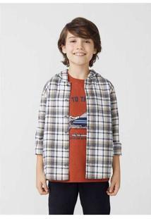 Camisa Infantil Menino Manga Longa Fio Tinto Cinza