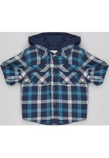 Jaqueta Infantil Acolchoada Estampada Xadrez Em Flanela Com Capuz Azul Petróleo