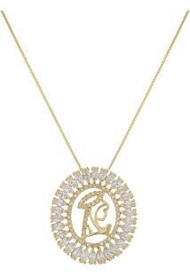 Colar Narcizza Com Mandala Oração E Detalhes Em Navetes Cristal Ouro