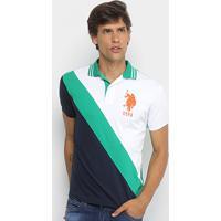 1ff5ca2a47 Camisa Polo U.S.Polo Assn Piquet Recorte Diagonal Frisos Bordado Masculina  - Masculino-Branco+