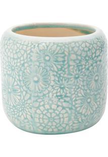 Vaso Embossed Flowers- Azul & Branco- 14,5Xã˜15,5Cm