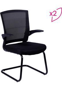 Jogo De Cadeiras Office Swift- Preto- 2Pçs- Or Dor Design