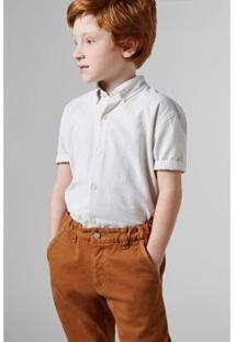 Camisa Masculina Infantil Mini Oxford Mc Reserva Mini - Masculino-Areia