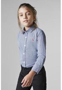 Camisa Infantil Mini Vichy Reserva Masculina - Masculino-Azul