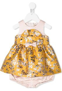 Hucklebones London Vestido Curto Jacquard Metálico - Amarelo