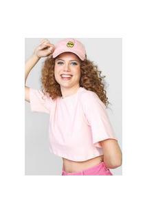 Camiseta Cropped Forever 21 Lisa Rosa