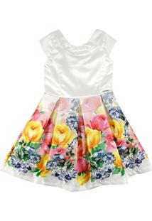 Vestido Estampado Floral Com Strass No Decote Ser Garota Bege