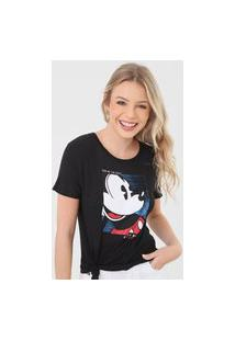 Camiseta Cativa Disney Mickey Paetê Preta