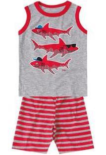 Pijama Bebê Marisol Tubarão Masculino - Masculino-Cinza