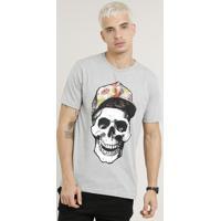 c7fd1b5eefec1 Camiseta Masculina Caveira Manga Curta Gola Careca Cinza Mescla