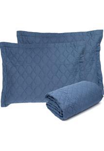 Colcha King Altenburg 3Pçs Home Collection Azul