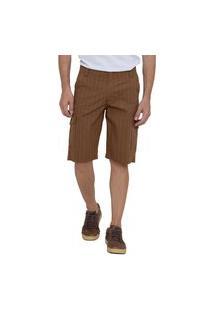 Bermuda Jeans Masculina Cargo Marrom Listrada