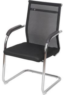 Cadeira Escritorio Basic Fixa Tela Preta Com Base Cromada - 50034 Sun House