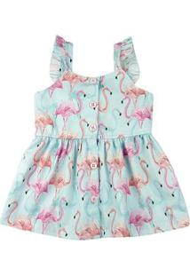 Vestido Infantil Estampa Digital Flamingos - Turquesa 1