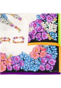 Etro Lenço De Seda Com Estampa Floral - Branco