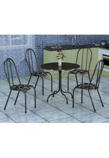Conjunto De Mesa Alicante Com 4 Cadeiras Alicante Preto Prata E Preto Floral