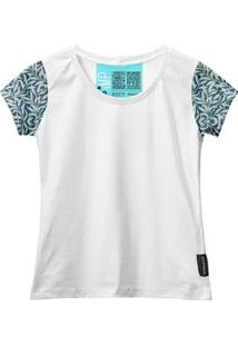 Camiseta Baby Look Feminina Algodão Estampa Folha Estilo - Feminino-Branco