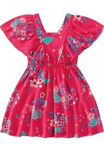 Vestido Em Viscose Maquinetada Menina Malwee Kids Rosa Escuro - M