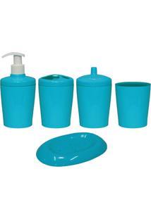 Kit Para Banheiro Ravi 5 Peças Azul