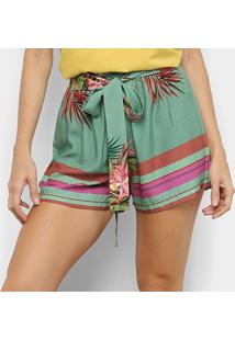 Shorts Mercatto Clochard Floral Feminino - Feminino-Verde