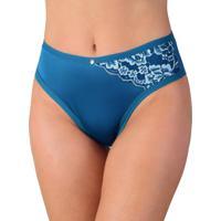 a11f8e058 Calcinha Vip Lingerie Em Microfibra Lisa Com Renda Estampada Azul