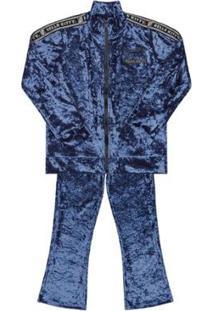 Conjunto Bebê Jaqueta E Calça Veludo Hello Kitty Feminino - Feminino-Azul