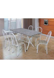 Conjunto De Mesa Com 6 Cadeiras Bruna Branco E Estampa Rattan I