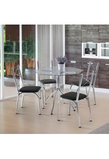 Conjunto De Mesa De Cozinha Com 4 Cadeiras Samarah Couro Sintético Preto
