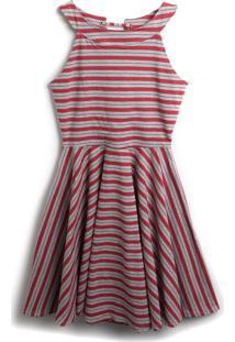 Vestido Young Class Listrado Vermelho/Cinza