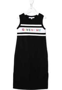 Givenchy Kids Vestido Sem Mangas Com Bordado De Logo - Preto