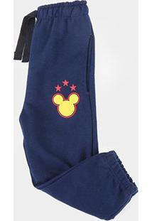 Calça Moletom Infantil Disney Mickey Masculina - Masculino-Marinho