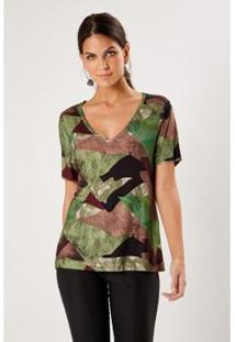 Camiseta Malha Est Himalaia Sacada Feminina - Feminino-Verde