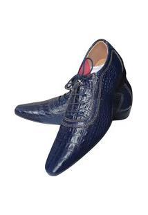 Sapato Masculino Italiano Em Couro Oxford - Azul - Blue Croco