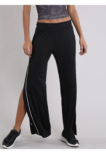 Calça Feminina Esportiva Pantalona Com Botões Na Lateral E Vivo Contrastante Preta