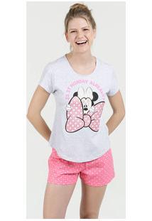 Pijama Feminino Short Doll Estampa Minnie Manga Curta Disney