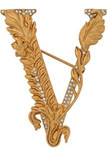Versace Broche Com Logo - Dourado