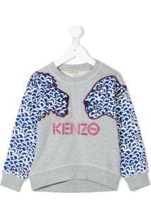 Kenzo Kids Moletom Com Estampa De Logo - Cinza