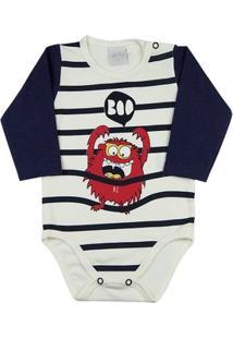 Body Bebê Cotton Monstro Boo Ano Zero - Masculino-Off White