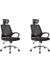 Conjunto Com 2 Cadeiras De Escritório Diretor Giratórias Light Preto