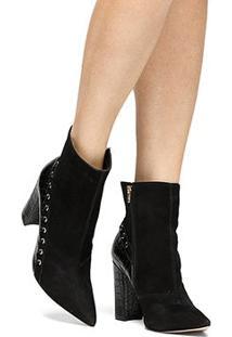 Bota Couro Shoestock Cano Curto Textura Feminina - Feminino