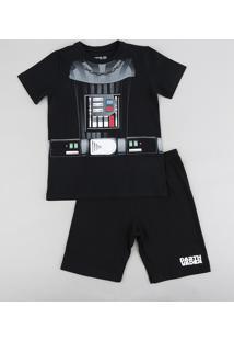 Pijama Infantil Darth Vader Star Wars Manga Curta Preto