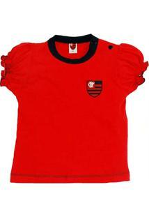 63b3eb202a Baby Look Cores Clube Meia Malha Flamengo Reve Dor - Feminino-Vermelho