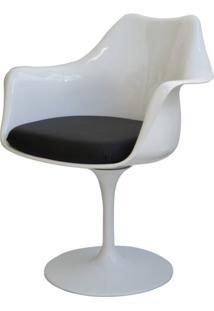 Cadeira Saarinen Branco Com Braco (Almofada Preta) - 15054 - Sun House