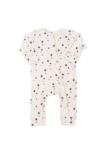 Macacáo Pijama Infantil Coquelicot Com Zíper E Sem Pé Estrelinhas Off White